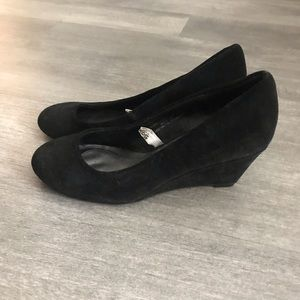 Shoes - Black suede wedge heels